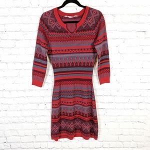 Athleta Fara Fair Isle Red Sweater Dress Small